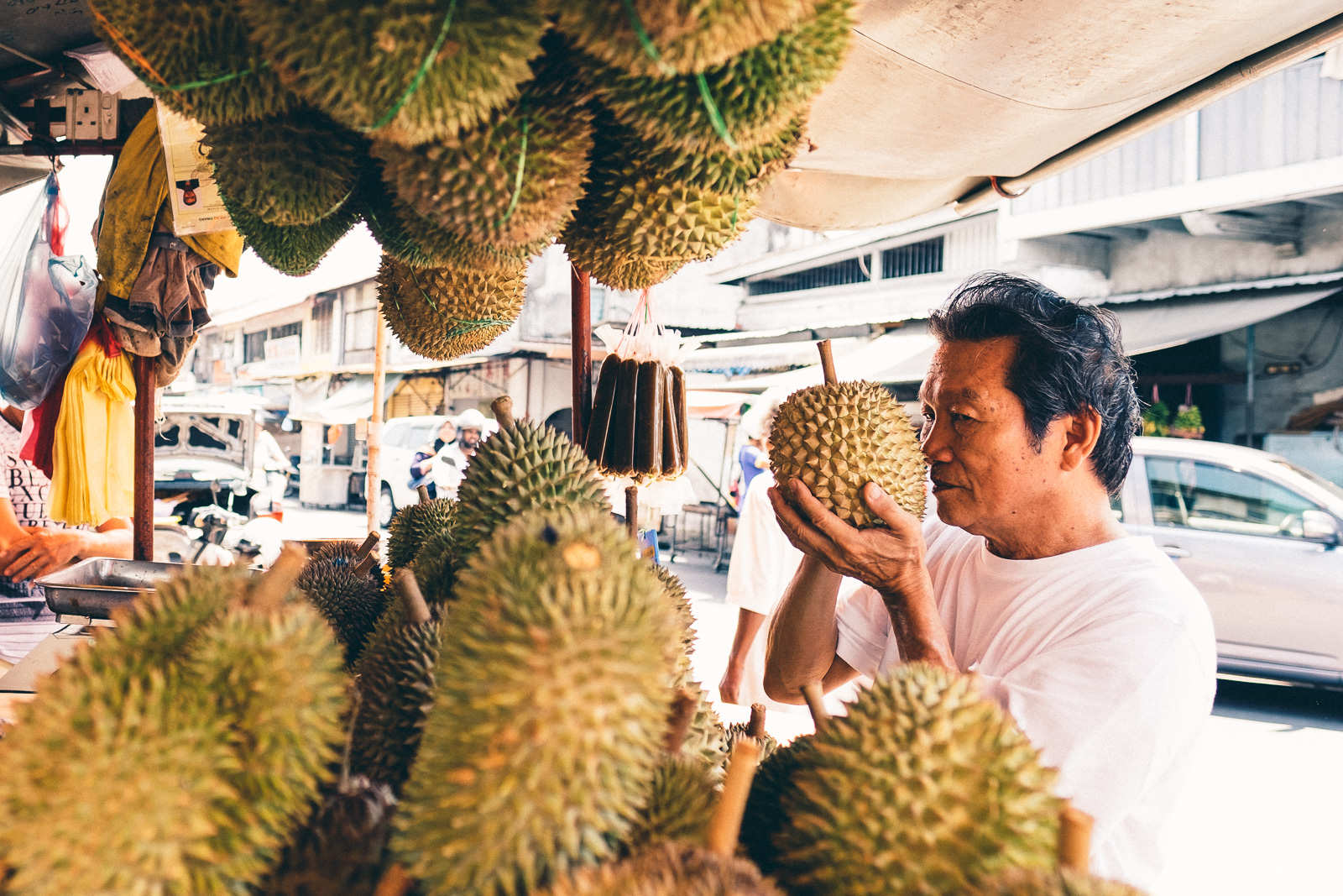 Checking the Durian - Penang Editorial Photographer