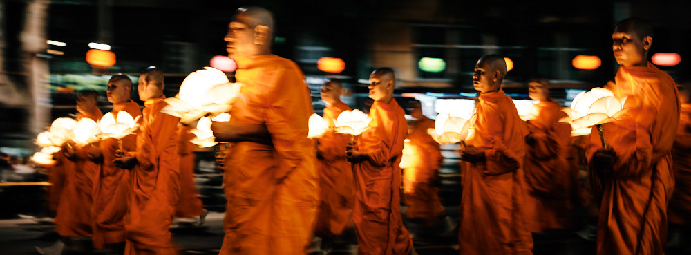 Monks at the Lotus Lantern Festival 2019